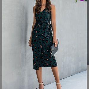 Green Leopard V Neck Tie Waist Dress 2XL